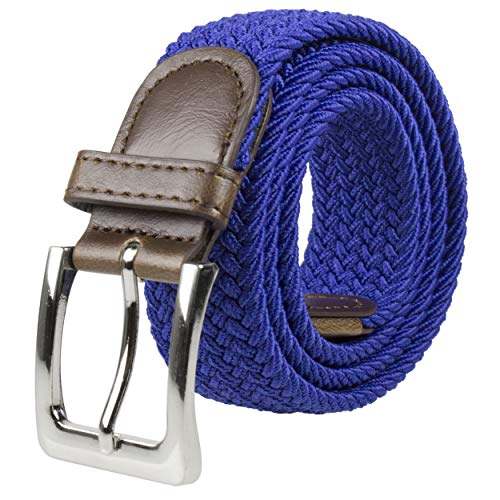 Canvas Elastic Fabric Woven Stretch Multicolored Braided Belts 2041-Royal-S