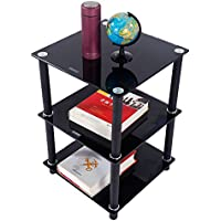 FCH Glassy Side Table 3-Tier Free Standing Square End Table Home Office Pedestal Tables,Black