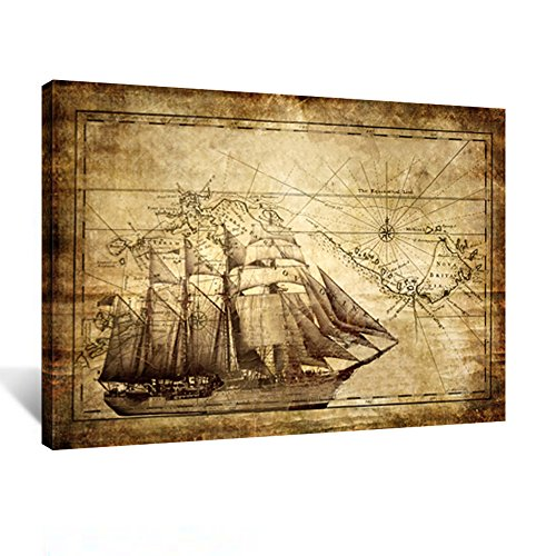 (Kreative Arts - Vintage Map Canvas Prints - Adventure Ocean Sailing Map Poster Art Print Canvas Framed for Living Room Decor Kids Study Room Ready to Hang)