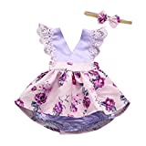 PRINCER 2PCS Toddle Newborn Infant Baby Girl Sleeveless Lace Floral Print Ruched Romper Jumpsuit +Bow Headband Outfits Clothes Sets for 3-18 Months Kids (Size:6M/Height:80CM, Purple)