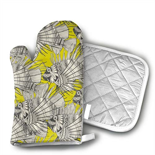 OIT43By Fish Mirage Chartreuse Oven Mitts and Pot Holders for Kitchen Set, 1 Oven Gloves for BBQ Cooking Baking -