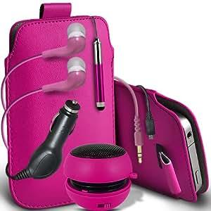 ONX3 Htc desire 500 Leather Slip cuerda del tirón de la PU de protección en la bolsa del lanzamiento rápido con Mini capacitivo Retractabletylus Pen, 3.5mm en auriculares del oído, mini altavoz recargable Cápsula, 12v Micro USB cargador de coche (Hot Pink)