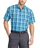 Chaps Men's Big and Tall Classic-Fit Plaid Button-Down Short Sleeve Shirt (Tropical Turquoise, 4XB)