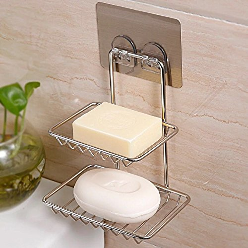 Hicy 2-Tier Stainless Steel Soap Holder Wall Mounted, Soap Dish Sponge Holder for Bathroom & Kitchen