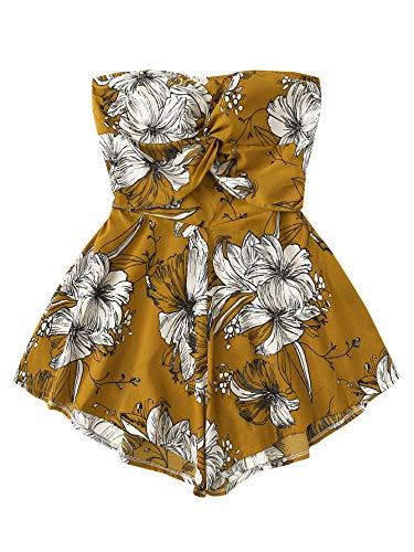 SweatyRocks Women's Off Shoulder Floral Print Playsuit Strapless Romper Short Jumpsuit Ginger X-Large