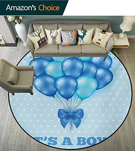 RUGSMAT Gender Reveal Small Round Rug Carpet,Balloons On The Nostalgic Polka Dots Backdrop Childbirth Celebration Theme Door Mat Indoors Bathroom Mats Non Slip,Round-71 Inch Sky Blue
