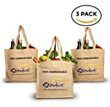 Organic Reusable + Compostable Shopping Bags: 3-Pack