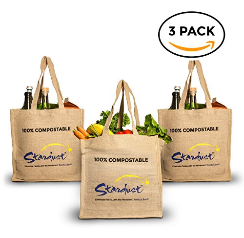 World's first 100% Compostable & Reusable shopping bag- Organic grocery bag (3-PACK) Eco-Friendly, Large & Heavy Duty by (Compostable Plastic Grocery Bags)