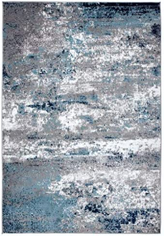 Rugshop Distressed Abstract Watercolor Area Rug 5' x 7' Blue