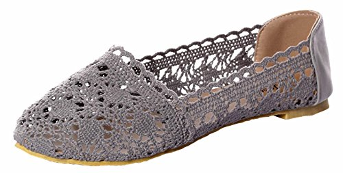 UJoowalk Womens Comfortable Breathable Hollow out Embroidered Crochet Lace Ballet Shoes Slip on Flats (5 B(M) US, (Black Glitter Lacey Shoes)