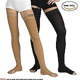PEDIMEND Thigh High Compression Stockings (1PAIR) | Anti-Fatigue Slimming Compression Socks | Best for Varicose Veins, Edema, Pregnancy (Thigh High Compression Stocking, Black)