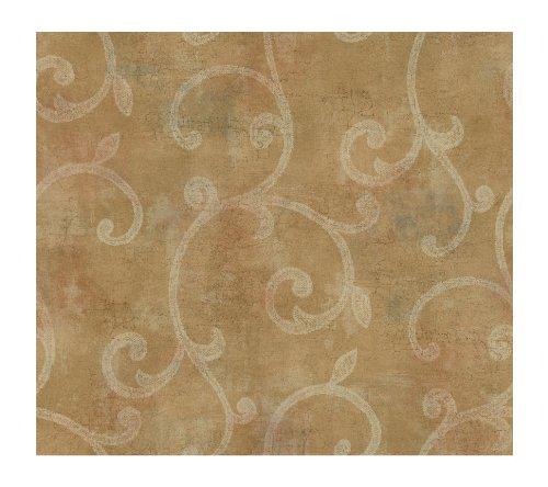 Wallpaper Blush - York Wallcoverings GL4636 Brandywine Scroll Wallpaper, Pearled Gold/Hint Of Blush/Winter White
