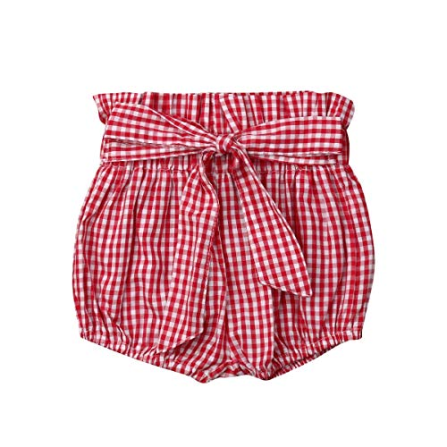 Toddler Baby Girl Shorts Elastic Waist Bowknot Waistband Bloomers Floral Gingham Polka Dots Pants Clothes Set (Red Gingham, 2-3T)