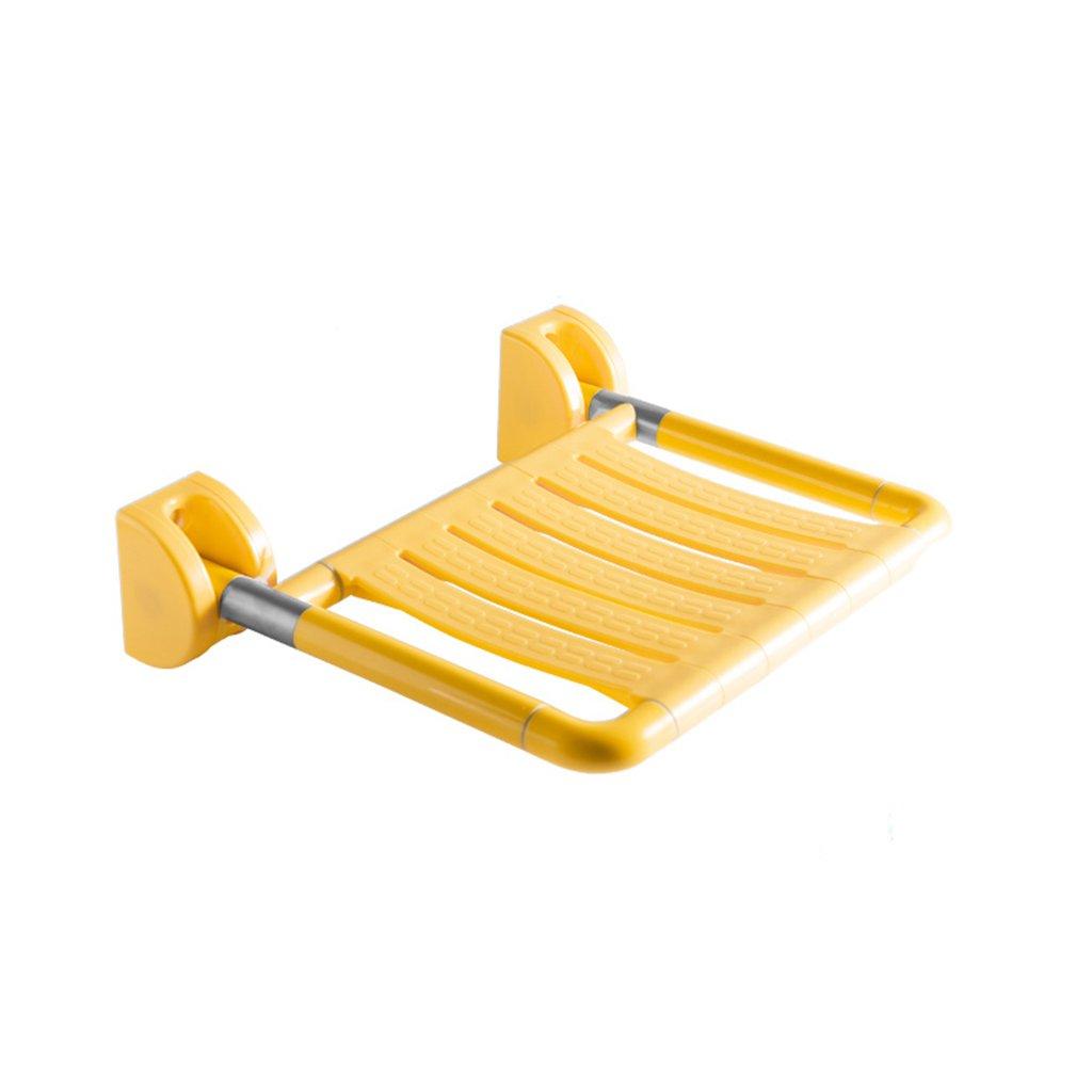シャワーチェアバスルーム折りたたみスツール壁シャワー座席バスルーム高齢者シャワーウォールチェアシャワースツール (色 : イエロー いえろ゜, サイズ さいず : B) B07DFKM4QS  イエロー いえろ゜ B