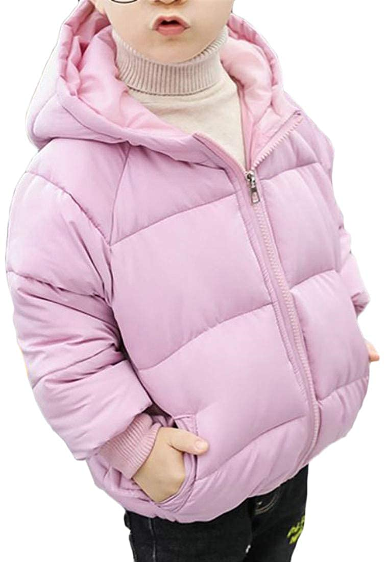 Lutratocro Boy and Girl Winter Quilted Hooded Down Jacket Cotton-Padded Warm Parka Coat