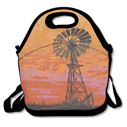 - Lunch Tote Bag Windmill Orange Sky Insulated Lunch Box Food Bag Pouch Tote Bag For Adults, Kids School Work Picnic Reusable Container Neoprene