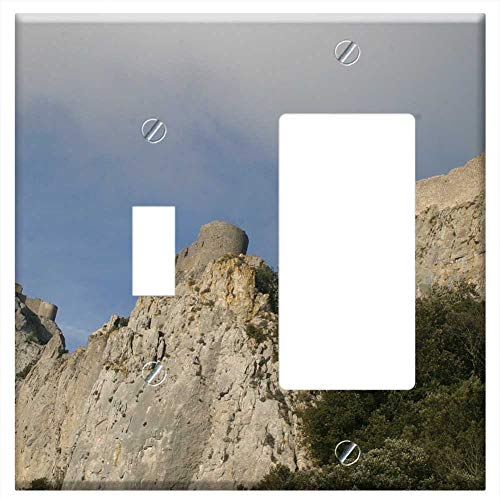 (1-Toggle 1-Rocker/GFCI Combination Wall Plate Cover - Chateau De Peyrepertuse Rock Castle Mountains )