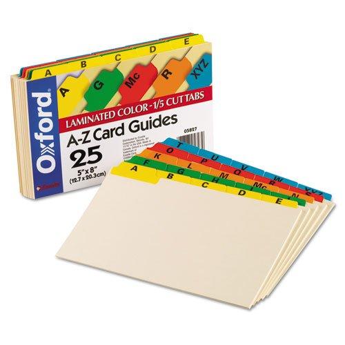o Oxford o - Laminated Index Card Guides, Alpha, 1/5 Tab, Manila, 5 x 8, 25 per Set
