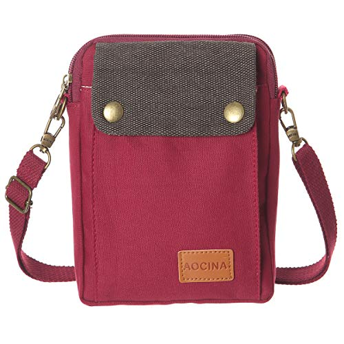 Cell Phone Purse Wallet Canvas Big Pocket Women Small Crossbody Purse Bags(A-Dark Red)