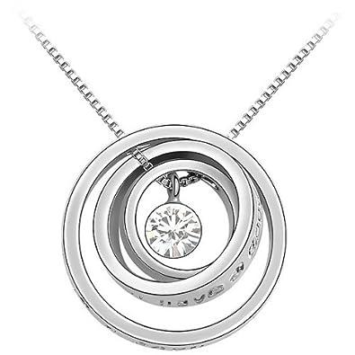 JBG White 18K Gold Plated Three Circle Round Lucky Circle Pendant Silver  Crystal Necklace Fashion Jewelry Eternity Love Charm Tumbled Rock Quartz   ... b21e78f143e