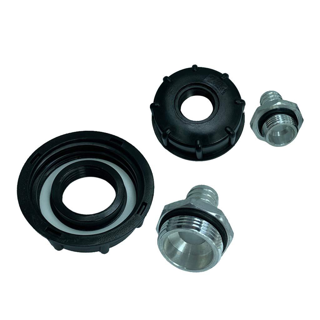 DN25 para Manguera de 19mm Manguera de 19mm 1 Shiwaki Adaptador de Bidones 1000//18//20//25//30L de PP+Aluminio Resistente 2 Rosca 60 mm Boquilla Recta de DN20
