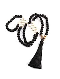 M&B Black Lavastone with White Accent Beaded Boho Mala Chakra Necklace 8mm with Natural Lavastone Beads for Meditation and Yoga