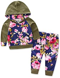 Baby Girls Floral Hoodie+ Floral Pant Set Leggings 2...