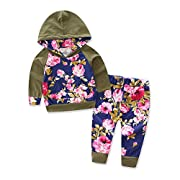 Baby Girls Floral Hoodie+ Floral Pant Set Leggings 2 Piece Outfits (12-18M, Army Green)