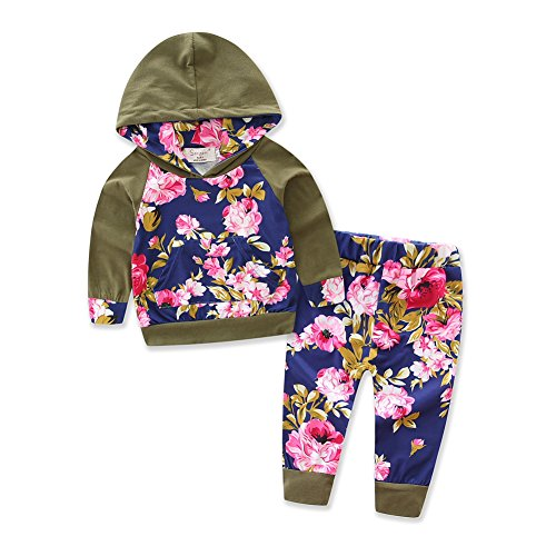 Army Of Two Outfit (Baby Girls Floral Hoodie+ Floral Pant Set Leggings 2 Piece Outfits (18-24M, Army Green))