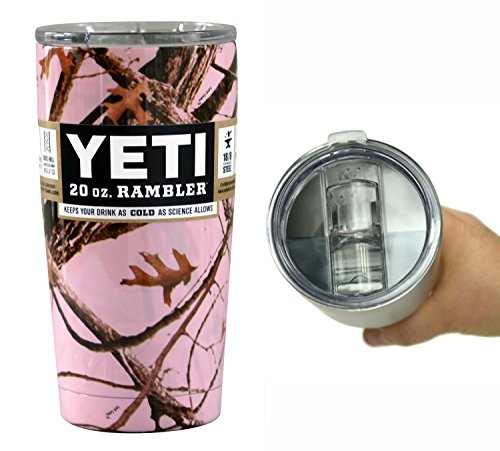 YETI Coolers 20 Ounce (20oz) (20 oz) Custom Rambler Tumbler Cup Mug with Exclusive Spill Resistant Lid (Pink Camouflage)