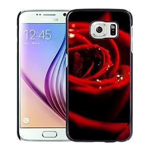 NEW Unique Custom Designed Samsung Galaxy S6 Phone Case With Red Rose Dew Closeup_Black Phone Case