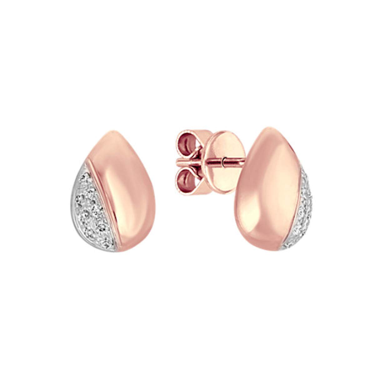0.15 TCW Round Cut White Simulated Diamond Solid 10k Rose Gold Stud Earrings