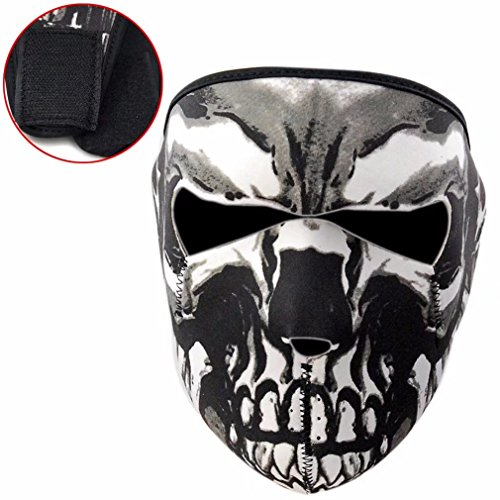 HonsCreat Neoprene Assassin Skull Face Mask 2 in 1 Reversible Full Face Mask Motorcycle Snowboard Ski -