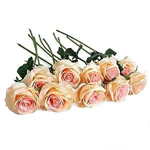 Eternal Blossom 10pcs Artificial Rose Silk Flower 50cm Fake Rose Blossom Bridal Bouquet for Home Wedding Decor (Champagne) 54