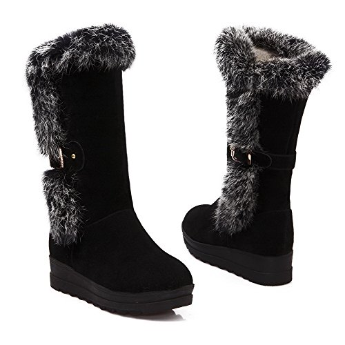 BalaMasa Womens Kitten Heels Mid Top Solid PU Snow Boots Black 3bTxZD