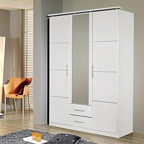 Kleiderschrank Weiß 3 Türen B 136 Cm Schrank Drehtürenschrank Wäscheschrank  Spiegelschrank Kinderzimmer Jugendzimmer Schlafzimmer