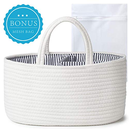 Baby Diaper Caddy Organizer Nursery Storage - Removable Inserts Tote Bag for Car - Cotton Rope Bin for Boys & Girls - Newborn Registry Search Must Haves - Baby Shower Gift Baskets for Wipes & Diapers
