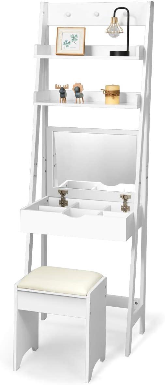 COSTWAY Tocador con Espejo Plegable Taburete y Estantes Mesa de ...