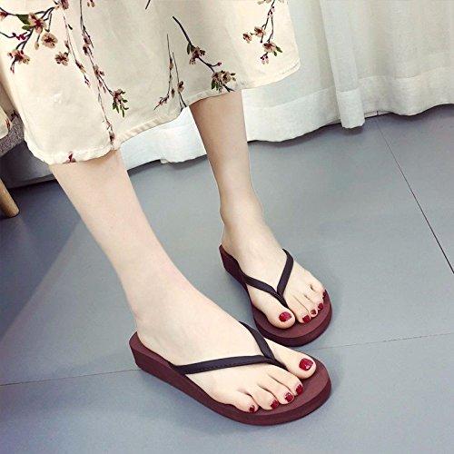 Cara XZ Femeninas española Nuevos rutschfeste Llevar Flops Moda espesores LIUXINDA Flip Zapatillas Xia con Moda Coole Po Productos Braun de O8x81Anf
