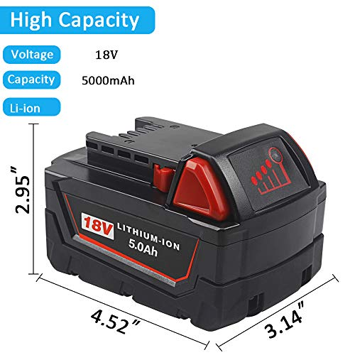 2 Pack TenMoer 18V 5.0Ah M18 Replacement Battery Compatible with Milwaukee M18 18Volt 48-11-1850 48-11-1860 Cordless Tools