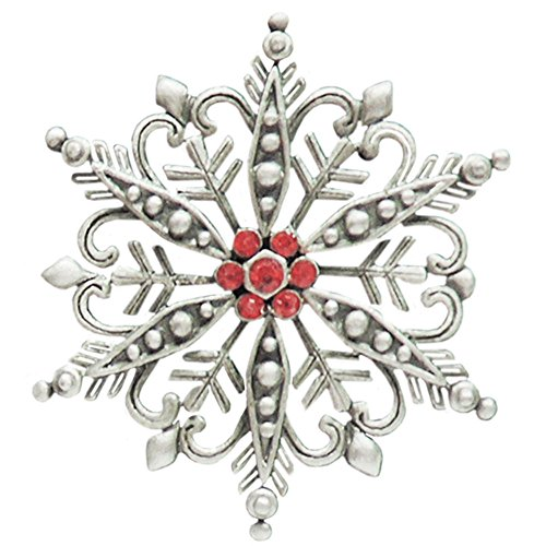 Christmas Snowflake Tack Pin with Rhinestones, By Jonette Jewelry, Usa, Signed, in Silver Tone with Antique Finish