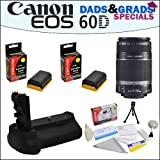 Dads&grads Special! Canon Ef-s 55-250mm F/4.0-5.6 Is Telephoto Zoom Lens and Battery Pack Grip with 2 Opteka Lp-e6 2400mah Ultra High Capacity Li-ion for Canon EOS 60d Digital SLR Camera