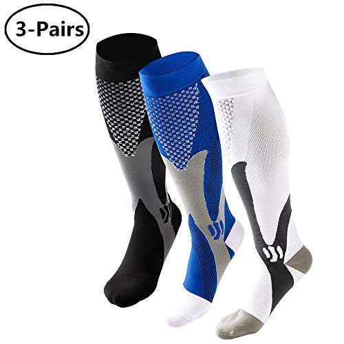 Ruzishun Compression Athletic Socks for Men(3Pairs)