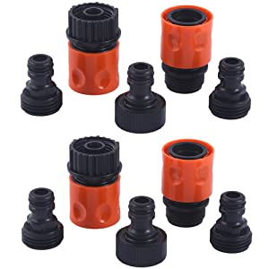 HQMPC Plastic Garden Hose Connector Garden Quick Connectors 2sets(10PCS CONNECTORS)