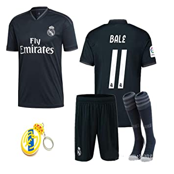 official photos 948e0 889b2 Real Madrid 2018 19 Replica Kid Jersey Modric, Arsenio, ISCO, Marcelo,  Bale, Benzema Away Black Jersey Kit : Shirt, Short, Socks, Bag, PVC Key