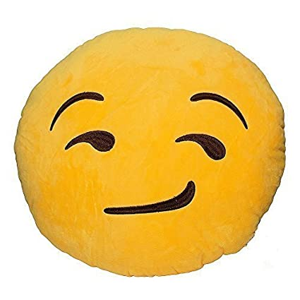 Rainbow Fox 32cm Emoji Smiley Kiss Poop Emoticon Yellow Round Cushion Pillow Stuffed Plush Soft Toy (kiss)