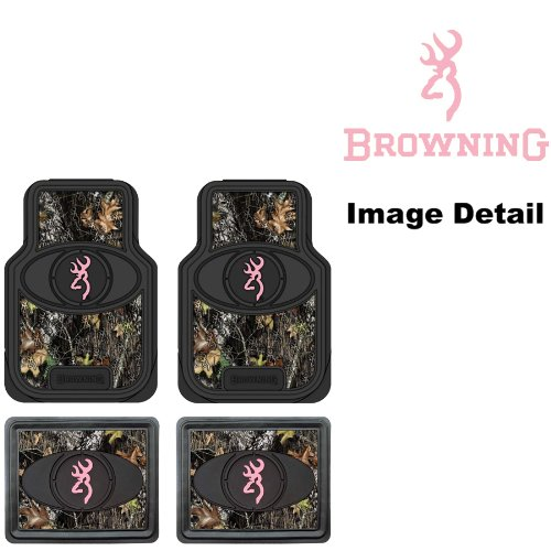 Browning-Arms-Company-Pink-Buckmark-Brand-Camo-Logo-Car-Truck-SUV-Front-Rear-Seat-Heavy-Duty-Trim-to-Fit-Rubber-Floor-Mats-4PC