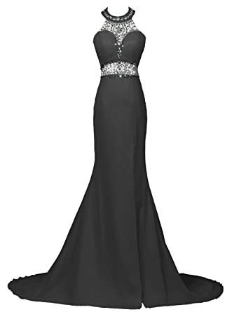 Dresstells reg; Mermaid Trumpet Halter Court Train Beaded Evening Prom Gowns Dresses