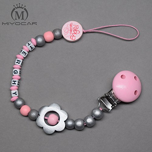 MIYOCAR Personalised any name pink and sliver wooded beads pacifier clip pacifier holder dummy clip