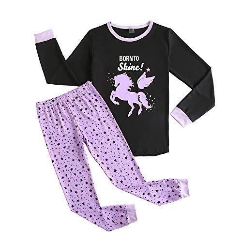 ac5077881eb3 MyFav Big Girls Cute Cartoon Print Pajamas Kids Cotton Long Sleeve  Sleepwear PJS Purple